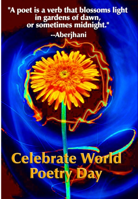 World Poetry Day poster featuring quote by Aberjhani: